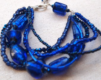 Blue multistrand bracelet by Cerise Jewelry