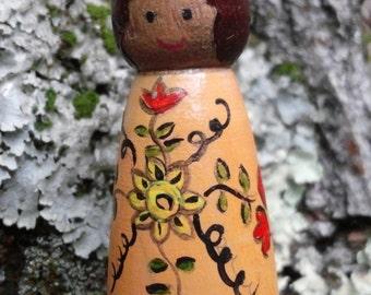 Wood peg Doll Necklace Friendship Charm Tulip Theme