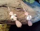 Lovely Teardrop and Rhondelle Pink Quartz with Clear Lampwork Beads with White Polka Dots and a Silver Decorative Bead Cap