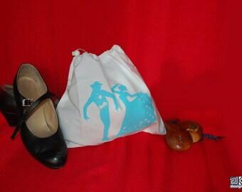 Flamenco gift, Dance shoes bag, White and Turquoise, Flamenco shoes bag, flamenco dance gift, Travel lingerie bag, Screen printed bag