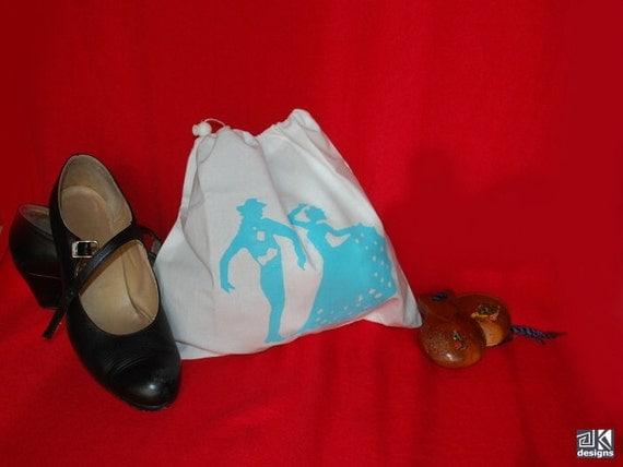 Lingerie bag, flamenco silhouettes, shoe bag, drawstring pouch, white, turquoise screenprint,
