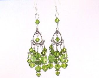 Olive Green Swarovski Crystal Chandelier Earrings, Green Jewelry, Olive Green Jewelry, Bridesmaids Jewelry, Womens Fashion