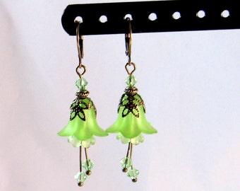 """Lime Green & Brass """"Fairy"""" Flower Mini-Dangle Earrings, Green Jewelry, Lime Jewelry, Flower Jewelry, fairy Jewelry, Gifts for Her"""