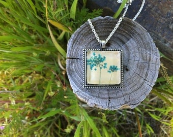 pressed flower necklace, light blue nature necklace real flower jewelry, nature lover gift, handmade jewelry, unique necklace, for gardeners