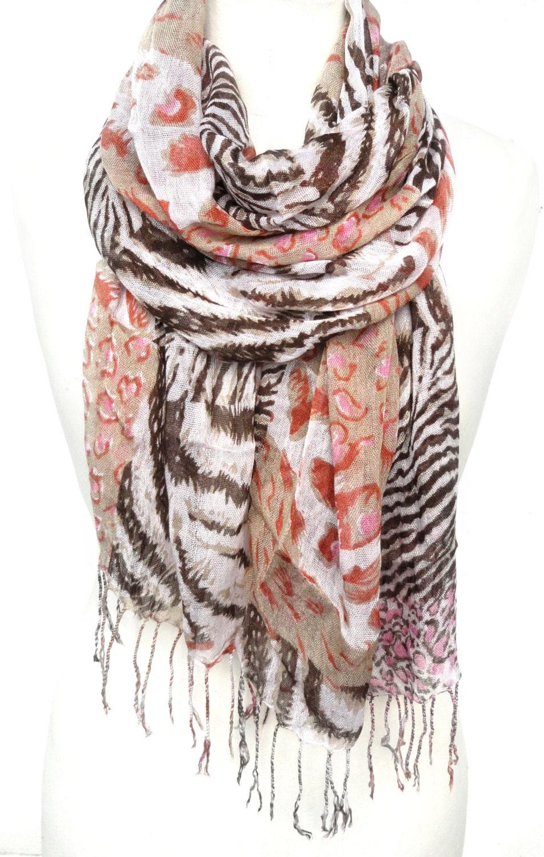 animal print scarf leopard scarf zebra scarf cotton scarf
