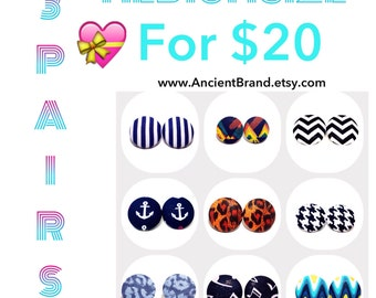 Pick Any 3 Pair of Medium 1 1/8 Button Earrings for 20