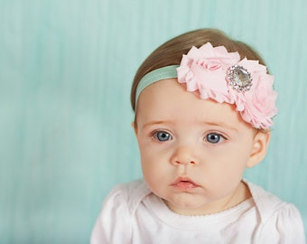 Baby Headband, Spring and Easter colors, newborn headband, infant headbands, hair bow, pink headband, flower headband, baby accessories