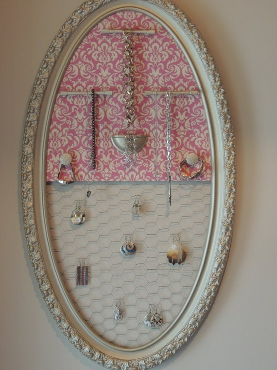 Gold and pink damask hanging jewelry organizer with chicken for Picture frame organization wall