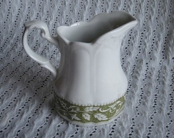 Vintage Creamer Lucerne Green Sterling Colonial English Ironstone J. & G. Meakin England Leaves Flowers Embossed Pottery Ceramic