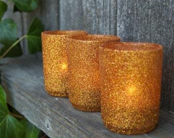 Votive holders in Copper glitter