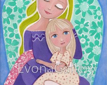 Folk Art  Painting, Guardian Angel, Print  8x10 inches, Mixed Media, Little Girl, Catholic art, First communion Wall Decore by Evona