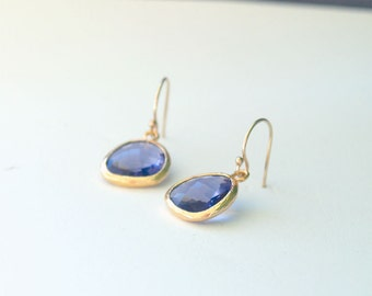 Purple Earrings in Gold - Tanzanite Purple Drop Earrings - Dainty Purple Drops on Gold Filled Earwire, Purple Bridesmaid Earrings