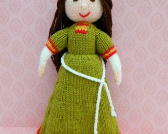 Doll Knitting Pattern/ Knitted Doll/ Toy Knitting Pattern/ PDF/ Instant Download/Elvina - An English Romanesque Medieval Doll - 1086