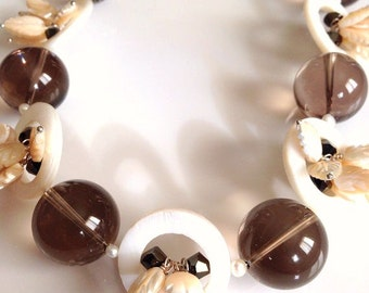 Statement Necklace of Smoky Quartz and Pearls