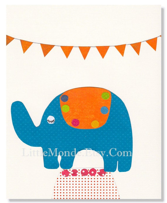 Baby Boy Nursery Prints, Neutral Nursery, Unisex Nursery, NURSERY ART PRINTS, Orange, Navy blue, Elephant, Circus, Zoo