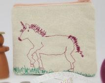 Zip coin purse, cloth wallet, zip pouch, change purse, gadget pouch, cream purse, unicorn embroidery