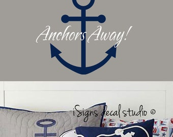 Anchor Decal-Nautical Wall Decal - Anchors Away Wall Decal - Nautical Decal - Anchor Wall Decal - Nautical Decor-Vinyl Decal