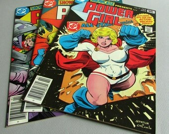 Power Girl No. 97, 98, 99, Set of 3 Vintage Showcase Comic Books, February, March, and April 1978, DC Comics