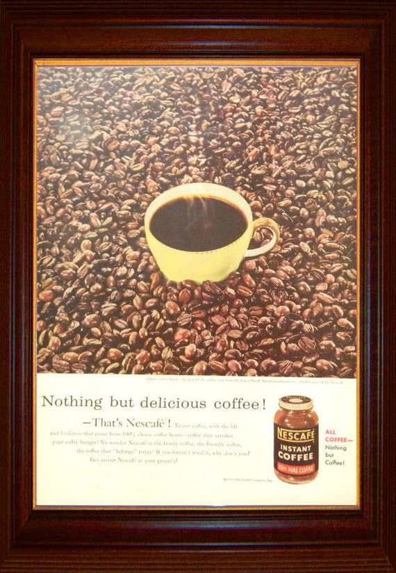 Coffee Theme Kitchen Decor Nescafe Ad Wall Art OR Reverse Side GM