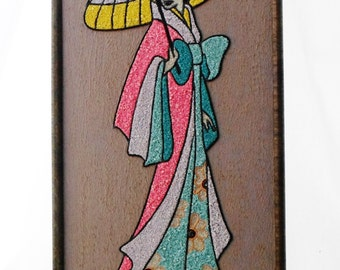 1950's, Asian, Pebble, Wall Hanging, Geisha, Lady, Pebble Art, Gravel, Vintage, Mosaic,  Art, Pink, Turquoise, Blue, Yellow, Rock, Painting