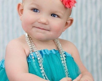 Bright Coral Baby Headband, Baby Headband, Infant Headband, Newborn Headband, Shabby Chic Headband Coral Rosettes with rhinestone