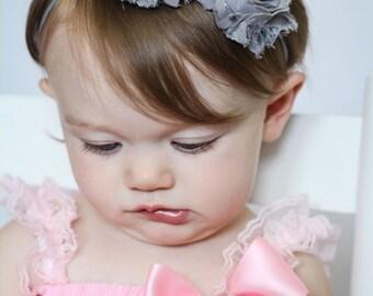 Gray Baby Headband, Infant Headband, Newborn Headband, Baby Headband, Gray Shabby Chic Headband