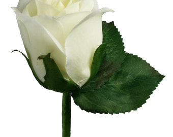 Ivory Silk Rose Boutonniere - Groom Boutonniere Prom