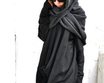 New All Knit Grey Extravagant Warm Shawl / Knit Warm Extravagant Scarf by Aakasha A13108