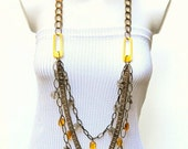 "HINTS OF SUNRISE three strand 24"" antique gold chain link modern fashion necklace"