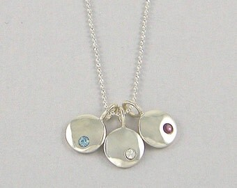 Mother's Necklace with Birthstones Personalized Necklace Birthstone Necklace Sterling Silver Jewelry for Mom with Sterling Silver Chain |NS4