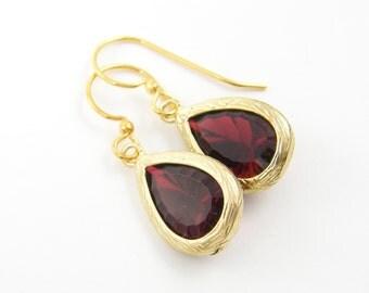 Garnet and Gold Earrings - Burgundy Drop Earrings Faceted Gold Trim Teardrop Jewelry |RJ1-2