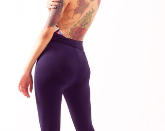 Navy Blue High Waisted Leggings Spandex Matte Yoga Pants