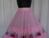 On Sale/Special SWING YOUR PARTNER Vintage Square Dancing Clogging Promenade Full Skirt Pink Size Large