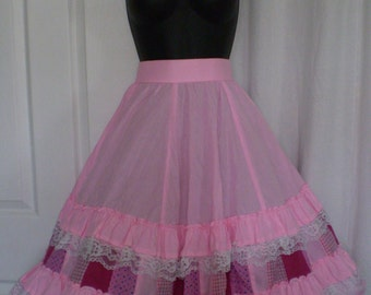 On Sale/Special SWING YOUR PARTNER Vintage Square Dancing Clogging Promenade Full Skirt Pink Size Large