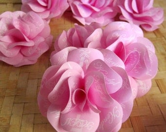 """Ballerina Birthday Paper Roses with  Personalized  Print  Pink ,Purple or Custom Color Set of 1 Dozen   2.5"""" Roses Without Stems"""