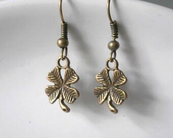 Lucky Shamrock Earrings antique brass