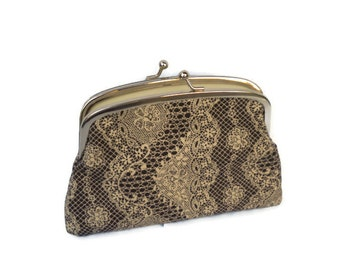 Lace frame wallet, 2 compartment kiss lock purse in brown with cream lace pattern
