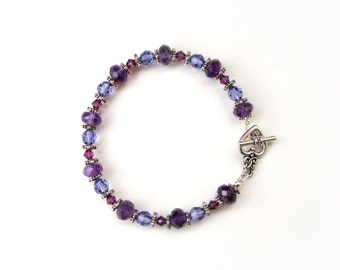 Amethyst Gemstones Bracelet -  Victorian Style Bracelet - Swarovski beads and Amethyst Gemstones Bracelet - Handmade Bracelet