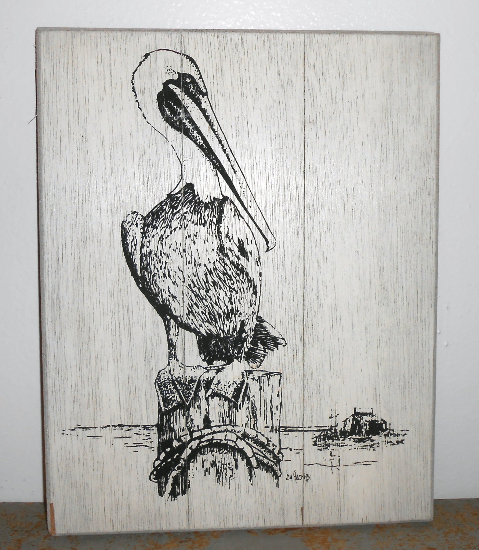 Vintage Wall Art Pelican Wall Decor Black White Screened