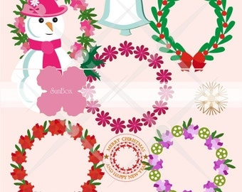 Christmas clipart Christmas Wreaths Snowwoman Bell Stamp Snowflakes 12 ClipArt Images for cards, scrapbooking  - instant download - CU OK