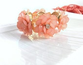 Peach Flower Bracelet - Stretch Bracelet - Flower Bracelet - Designer Inspired - Jcrew - Floral Jewelry