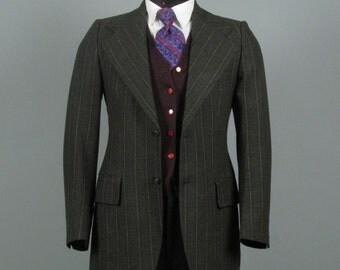 Vintage Mens Sport Coat 1970s PIERRE CARDIN Pine Green MOD Sportcoat 36 38