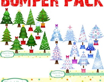 Christmas trees clip art bumper pack, 20 designs. INSTANT DOWNLOAD for Personal and commercial use.