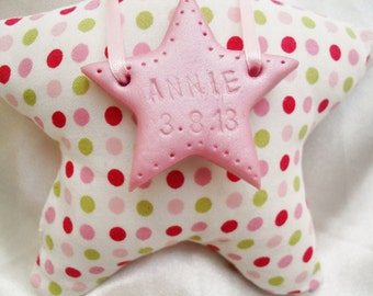 New Baby Girl Gift Padded Star PERSONALISE Clay Star Pink
