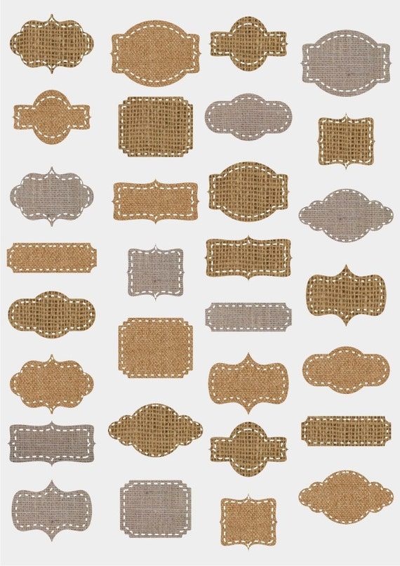 Instant Download - Burlap Frames - Borders - Labels - 30 different tags - PNG and JPG format - Scrapbooking, Card making