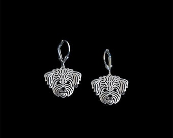 Maltese (in puppy/pet haircut) earrings - sterling silver.