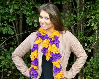 Extra-Long Crochet Ruffle Scarf - Purple and Gold