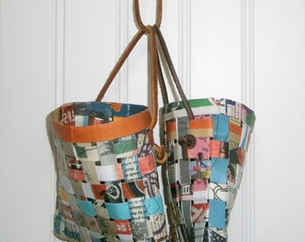 Paper Basket Woven With Recycled Fanzines, Handmade