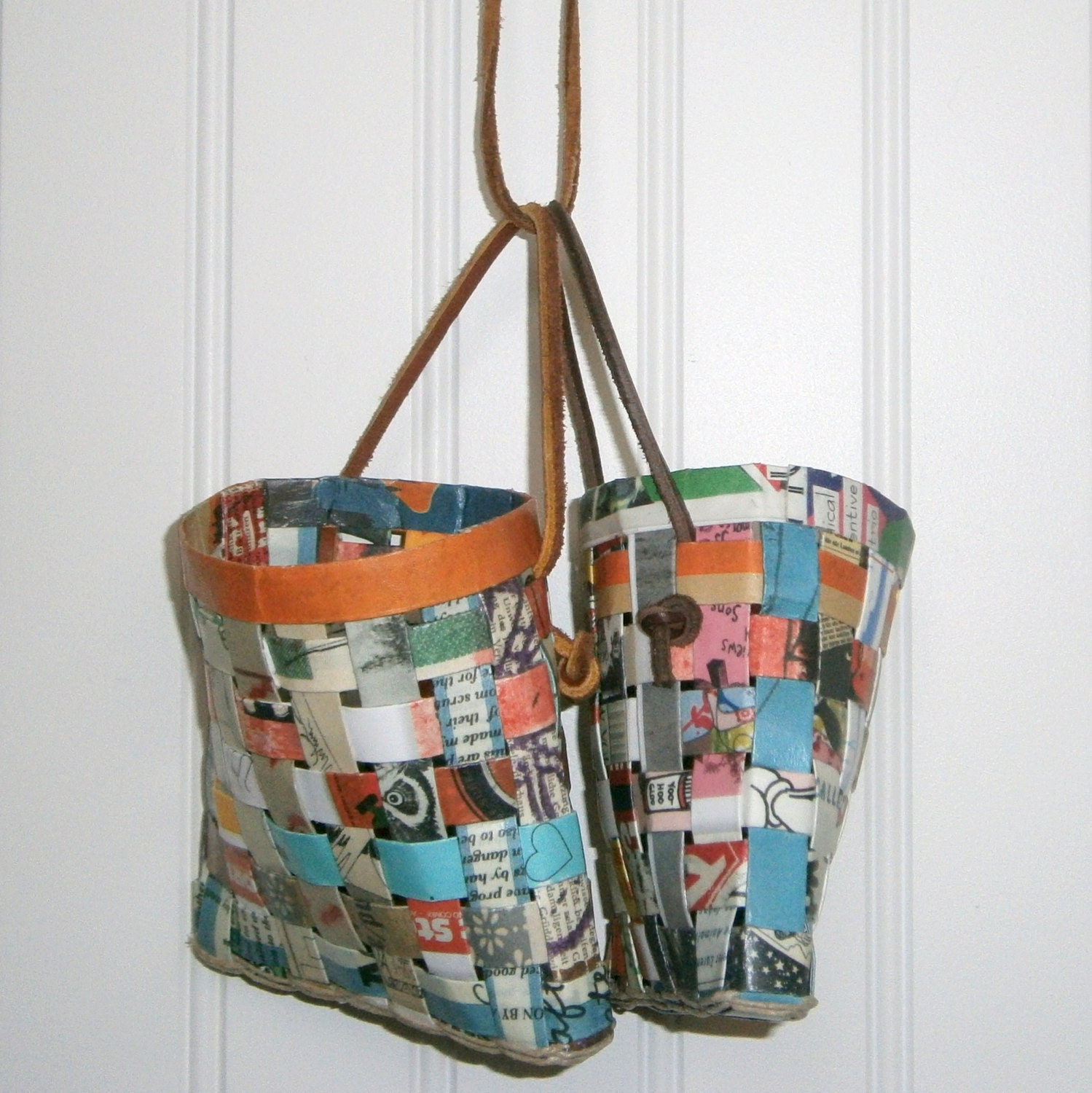 Handmade Basket Paper : Paper basket woven with recycled fanzines handmade
