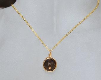Smokey Quartz Necklace , Brown Gold Necklace , Bridesmaids Necklace